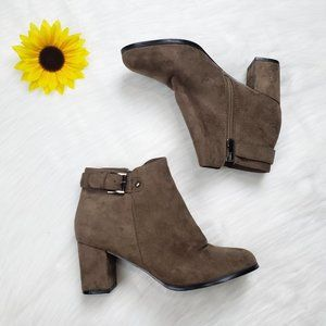 Italina Women's Buckle Strap Faux Suede Booties 8